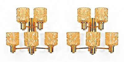 Pair of Swedish 1950s Wall Sconce with a Two-Tier Brass Frame