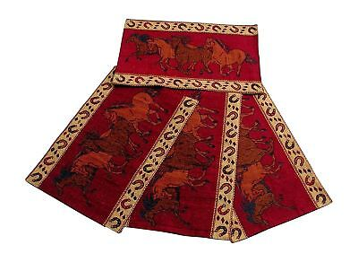 """RaaKha Running Horses Western Jacquard Placemats Red Brown 13"""" x 19"""" Set of 4"""