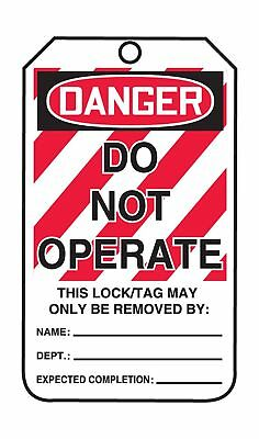 """Accuform Signs MLT400CTP Lockout Tag Legend """"DANGER DO NOT OPERATE"""" 5.75"""" Len..."""