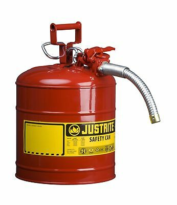 "Justrite 7250130 Galvanized Steel AccuFlow Type II Red Safety Can with 1"" Fle..."