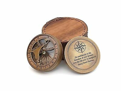 Roorkee Vintage Brass Compass with Leather Case/ Henry David Thoreau Directio...