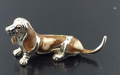 Sterling silver & hand enameled medium Saturno Daschund, imported from Italy