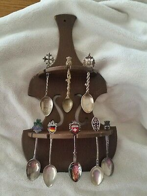 8 antique silver souvenir spoons from Europe with display