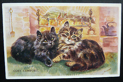 Vintage Cat Postcard- Artist Mabel Gear, Cosy Comfort- Posted 1960