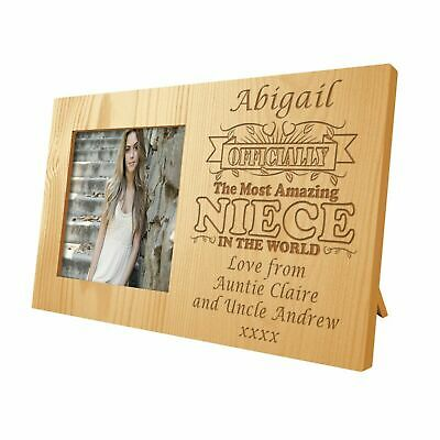 Personalised Amazing Niece Wooden Photo Frame Nieces Engraved Birthday Gift