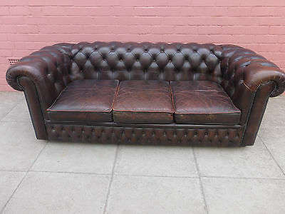 A Vintage Brown Chesterfield Three Seater Sofa Settee ****DELIVERY AVAILABLE*