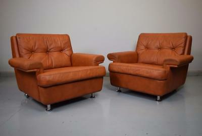 (1 of 2) Mid Century Retro Vintage Danish Tan Brown Leather Lounge Arm Chair 70s