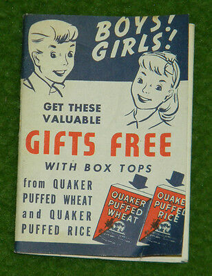 Vintage 1939 Quaker Puffed Rice Box Top Gift Catalog DICK TRACY Collectors  L@@K