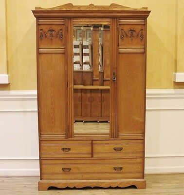 Antique English Victorian Light Wood Carved Elm Wardrobe, Armoire, Closet.