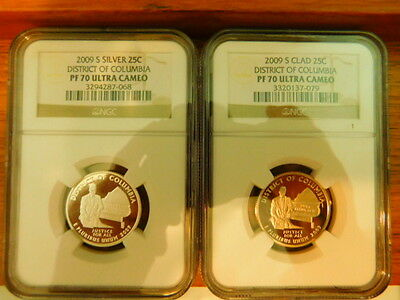2009-S DISTRICT of COLUMBIA Quarters (SILVER & CLAD)NGC PR70 UC