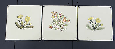 3 Hand Painted Carter Tiles - Yellow/Lemon - Flowers - Monogrammed - 1954/55  6""