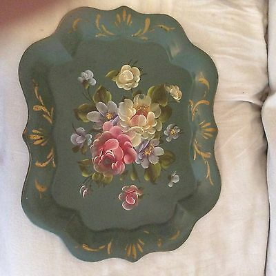 Pretty Hand Painted Tole Metal Tray Large FLORAL Design
