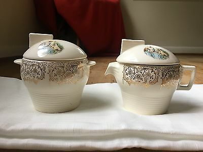 Triumph Limoges 22K Gold Colonial Cream & Sugar vintage coffee deco antique dish