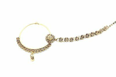 Indian Kundan Lct Nath Nose Ring Chain Bridal Gold Antique Jewellery Bollywood