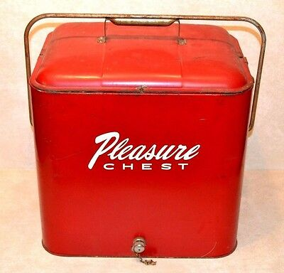 1950'S Vintage Red Metal Pleasure Chest Cooler Ice Chest -Tray - Bottle Opener