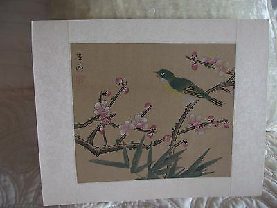 vintage Chinese hand painted silk picture signed