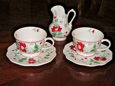 Sadek Winterthur ADAMS ROSE Hand Painted Porcelain 5 Pc Lot Mugs Plates Pitcher