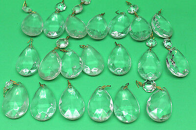 20 pc Antique Crystal Glass Faceted Tear Drop Chandelier Lamp Prisms 2' Lenght
