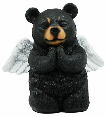 "Praying Angel Black Bear Figurine 5""H Kneeling Teddy Resin Home Decor Christian"