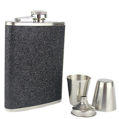 Hip Flask 8oz Gift Set Stainless Steel Black Glitter 8oz Flask 2 Cups and Funnel