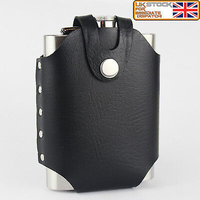 New Style 8oz Hip Flask Stainless Steel with Black Leather jacket