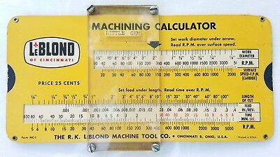 Vintage Leblond of Cincinnati Machining Calculator