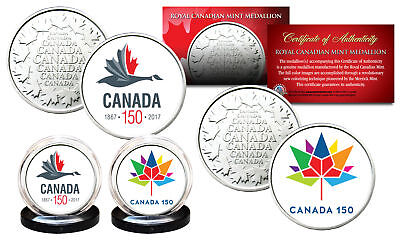 CANADA 150 CELEBRATION RCM Royal Canadian Mint Colorized Medallions 2-Coin Set
