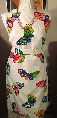 Vintage 1960S Mod Butterfly Rainbow Dress White Textured Material L/xl