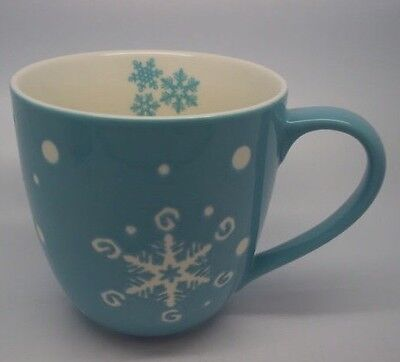 New STARBUCKS Holiday Winter 2007 SNOWFLAKE EMBOSSED  BLUE CERAMIC MUG/CUP 16oz