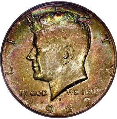 Rainbow Toned 1969-D Kennedy Half Dollar ANACS MS62