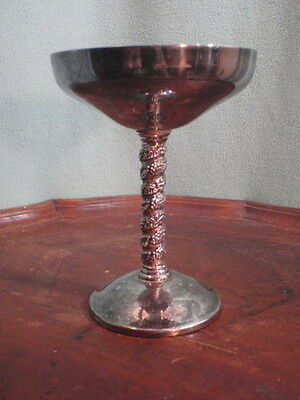 VTG Silver Plate Wine Goblet Chalice Cup Ornate Stem Leaves SPAIN by Roma S. L.