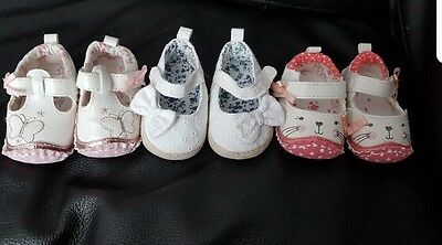 4 x baby girl shoes 0-3 months