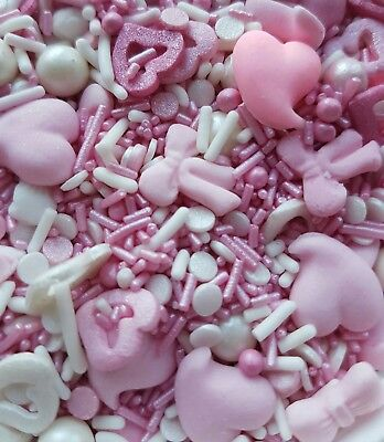 50g Mixed Pink Unicorn  Princess sparkle sprinkles,edible  cake/cupcake toppers.