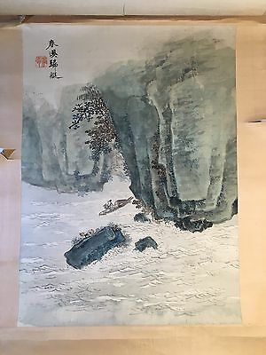 19C Chinese Painted Scroll Signed Water On Color Silk Sea Shore Cliffs Man Boat