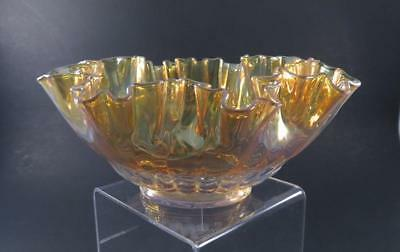 Fancy Gold Luster Glass Antique Brides Bowl Basket With Ruffled Edge