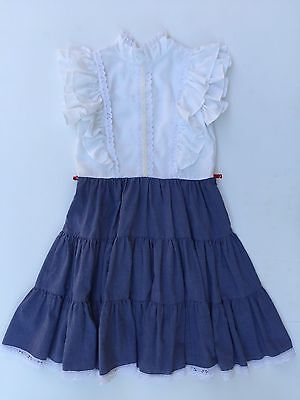 Vintage 70s BLUE and WHITE With Lace Child Girls Size 6/7 Dress