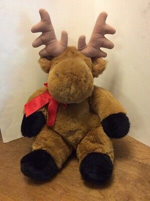 "FAO Schwarz Plush Sitting Moose Brown And Black 16"" Red Bow Soft"
