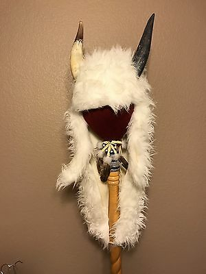 Buffalo Long Headdress With Real Horn caps White