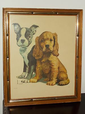 Vintage LUSER Picture of a BOSTON TERRIER and IRISH SETTER