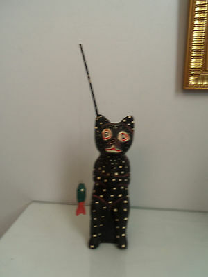 Vintage Wooden Cat Figure fishing  - hand crafted
