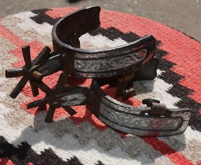 Vintage Mexican Double Mounted Silver over Iron Pair of Spurs ~ Chihuahua ~ Nice