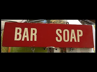 "Authentic Vintage Old Wooden Country General Store ""Bar Soap"" Sign  Red/White"