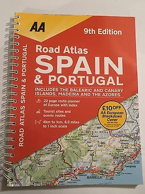 2017 Aa Big Road Atlas Of Spain & Portugal Large A4 Driving Map Brand New