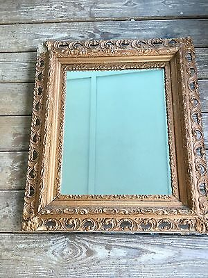 "Italian hand carved Wall Mirror gilt gesso wood frame 29"" SHABBY CHIC 19th C"