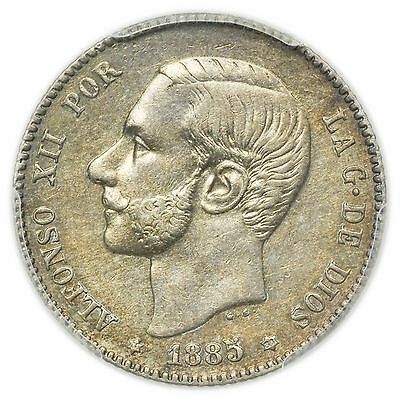 Spain KM#686 1885-MS M (1886) Peseta, PCGS AU-55, Rare Coin [1784.14]