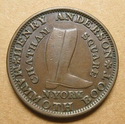 Hard Times Token - Henry Anderson Mammoth Boot Store in New York City - HT-219
