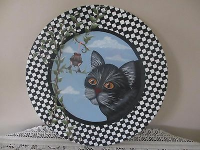 OOAK* Hand painted Wooden Plate* Black Cat* Mouse* Wall hanging*