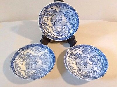 3 Vintage Staffordshire England Small Bowls with Irish Wolfhound Blue Transfer