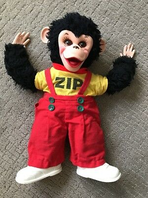 Vintage Rushton Zip Zippy the Monkey Rubber Face-hands-shoes 16""