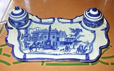 Victoria Ware Ironstone Flow Blue And White Inkwell & Tray Fantasy - China